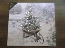 "Battery Operated Lighted Canvas Print  Christmas Garden, Tree Wheelbarrow 18x17"""