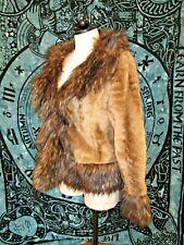 Ladies Faux Fur Jacket Coat S-M Live A Little~fluffy boho~warm & soft fox