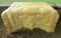 Gorgeous Vintage French Mid Gold Satin Feather Filled Boutis Quilt c1930's