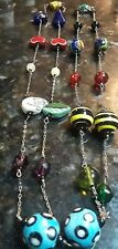 Long Silver Multi Hand Made Ceramic, Glass, And Gemstone Bead Necklace 39 1/2""