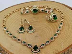 Turkish Handmade Sterling Silver 925 Emerald Ring Necklace Bracelet Earring Set