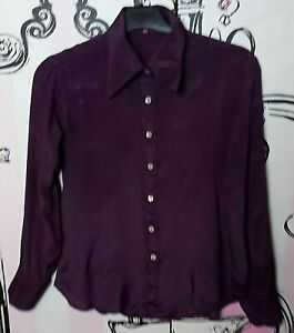 Size 10 Vintage Emmanuel Schvili Dark Purple Shiny Long Sleeve Blouse Shirt