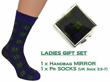 Tartan ladies Socks + Handbag Mirror.  Inspired by Scotlands Black Watch design