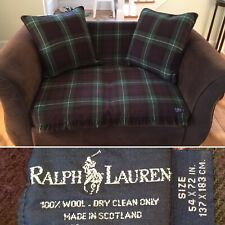 Vtg RALPH LAUREN 100% Wool Plaid Throw Blanket & Goose Down Pillow Set Scotland