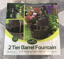 Brand New Boxed GardenKraft 2 Tier Barrel Water Fountain Bronze Garden Feature