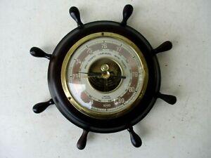 Vintage Maritime Made Germany SundQ Barometer Wood Rudder Frame