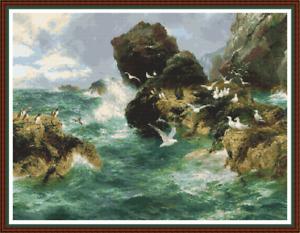 'SURGE OF THE OCEAN' Cross Stitch PATTERN - Detailed/Seascape/DMC Symbols