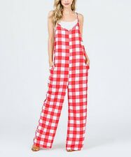 Red Gingham Sleeveless Jumpsuit Size 18 Ladies Womens With Pockets New B-523