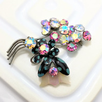 Rhinestone Flower Brooch Mother of Pearl Lapel Pin 1950s Painted Jewelry Atomic