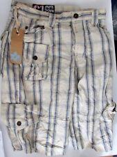 Mens size 34in waist Burton 100% cotton blue/cream Cargo Beach shorts
