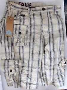 Mens size 30in waist Burton 100% cotton blue/cream Cargo Beach shorts