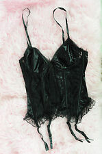Vtg Cinema Etoile Black Satin Fancy Lace Sexy Corset Bustier Top w Garters sz M