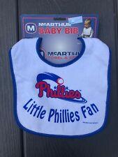 MLB Philadelphia Phillies Baseball Baby Bib Blue Trim - NEW!