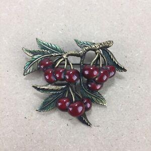 JJ Enamel Red Cherries Cluster Pin Brooch