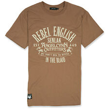 "ENGLAND T-SHIRT - ""REBEL ENGLISH"" BY SENLAK - CHESTNUT, Angelcynn, Anglo-Saxon"
