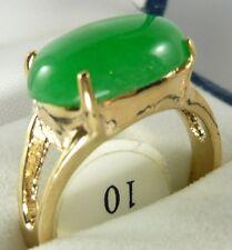 Edelste ovale grüne Jade 18KGP Partei Ring US-Größe 6,7,8,9,10 Ausgang