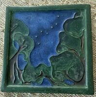 "Rare Ephraim Faience Pottery Starry Night Art Tile #390/ 6""x6""  Mint Condition"