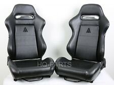 2 X TANAKA UNIVERSAL BLACK PVC LEATHER RACING SEAT RECLINABLE + SLIDERS