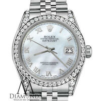 Rolex 31mm Datejust White MOP Mother Of Pearl Roman Numeral SS Diamond Watch