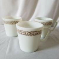 Vintage Pyrex Coffee Cup White Woodland Brown Flowers Tea Mug Set of 3