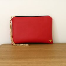 Clutch Bag Red Hand Chain Wrist Strap Faux Leather Flat Handmade Evening