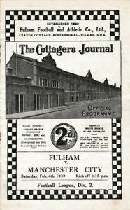 RARE PRE- WW2 WAR FOOTBALL PROGRAMME FULHAM V MANCHESTER CITY 1938-1939