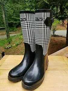 Charlie Paige Black and White Plaid Knee High Rubber Rain Boots  Size 8