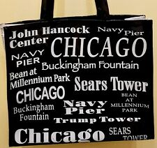 Vintage Vinyl Shopping Bag Tote City of Chicago Landmarks Two Handle Black White
