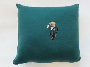 Ralph Lauren Alsten Polo Bear Green Knit Deco Pillow Embroidered Martini NWT