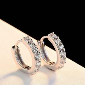925 Sterling Silver Plated CZ Cubic Huggie Hoop Small Earrings Men Women E21