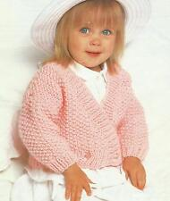 "Easy Knit Baby Girls Chunky Wrap Cardigan Waistcoat Knitting Pattern 16-24""  224"