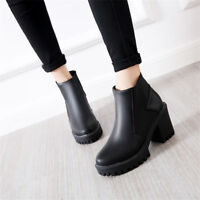Women's Round Toe Platform Pull On Ankle Boots Chunky Block Heel Casual Shoes Sz