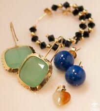 Lot of 4: 14k Yellow Gold Onyx, Jade, Lapis Lazuli Earrings & Heart Pendant