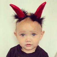 Devil Red Horn With Fur Baby Headbands Girl or Boy Newborn Soft Elastic Band