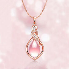 Fashion Women Rose Gold Plated Opal Crystal Pink Pendant Necklace Chain Gift