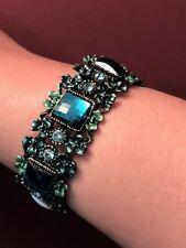 Faux emerald green cuff bangle bracelet