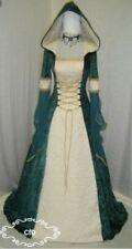 Vestido boda medieval, vestido de verde Celta en Crushed Velvet y boda Brocade.