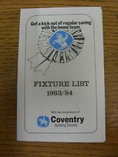 1983/1984 Fixture List: Coventry Building Society - Four Page Card Covering The