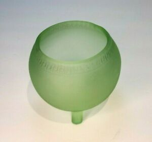 Vintage Vaseline Green Glass Depression Footed Bowl Diamond Panel Compote