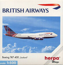 Herpa Wings 1:500 British Airways Boeing 747-400 Scotland id 502603 releasd 1999
