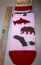 Alaska Themed wildlife Socks!  adult sizes 9-11 w/ eagle, salmon, bear & Alaska
