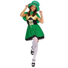 Duende Sexy Damas Vestido Elaborado del día de San Patricio Irlandés Disfraz Niña Verde
