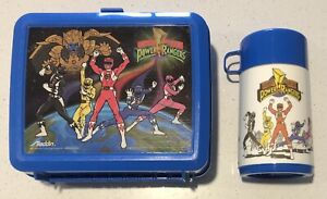 Aladdin 1993 Vintage Mighty Morphin Power Rangers Lunchbox & 1994 Thermos