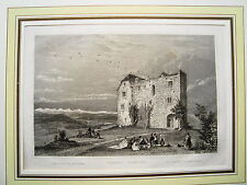 Schloß Habsburg  Kanton Aargau Schweiz seltener echter alter  Stahlstich 1844
