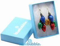 Bluebubble MERRY CHRISTMAS Fairy Light Cluster Earrings + Gift Box Funky Kitsch