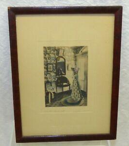 Antique Signed David Davidson Easter Bonnet Hand Colored Photo Framed Interior