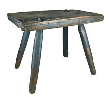 EARLY 19th CENTURY ANTIQUE SLAB BLOCK JOINT FARM MILKING CUTLER WORK STOOL CHAIR
