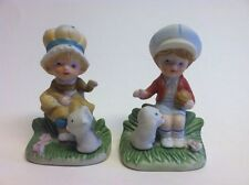 Cute Homco Set of 2 Girl Ceramic Figurines with Cats # 1430
