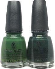 China Glaze Nail Polish Holly Day 1004 + Glittering Garland 1016 Green Lacquer