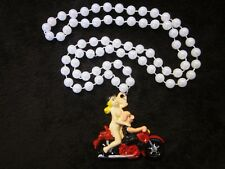 """""""BIKER HOG with NUDE GIRL"""" on MOTORCYCLE MARDI GRAS NECKLACE BEAD BABE (B252)"""